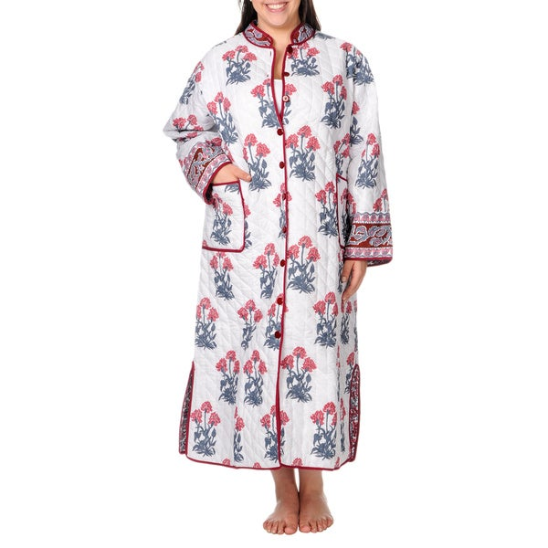 La Cera Women's Plus Size Reversible Quilted Long House Coat