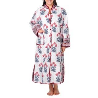 La Cera Women's Plus Size Reversible Quilted Long House Coat