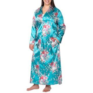 La Cera Women's Plus Size Turquoise Mandarin Collar Zip-front Robe