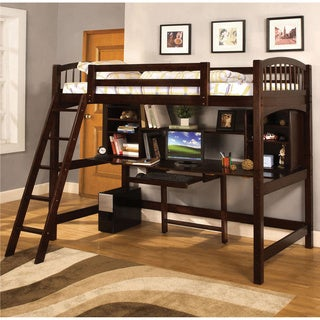 Furniture of America Lippens Espresso Twin Loft Bed with Workstation