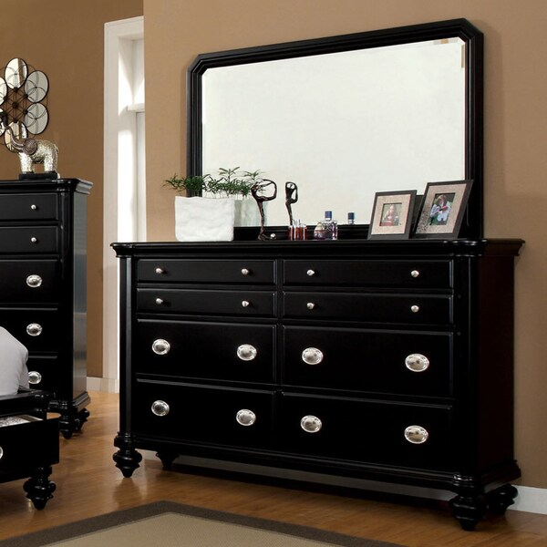 Black Media Chest For Bedroom Furniture of America Selinea Modern Black 2-Piece Dresser and Mirror ...