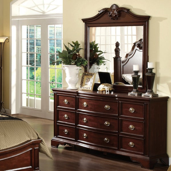 Furniture of America Ambrosio Dark Cherry 2-Piece Dresser and Mirror Set