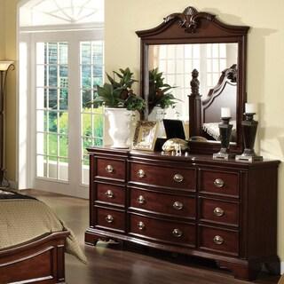 Furniture of America Ambrosio Dark Cherry 2-Piece Dresser and Mirror Set