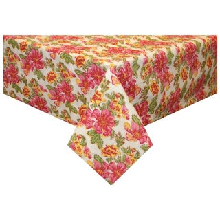 Pink/ Yellow Floral Tablecloth (India)