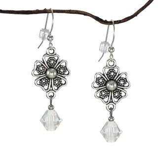 Jewelry by Dawn Pewter Filigree Teardrop Moonlight Crystal Dangle Earrings