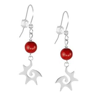 Jewelry by Dawn Red Sterling Silver Starburst Dangle Earrings