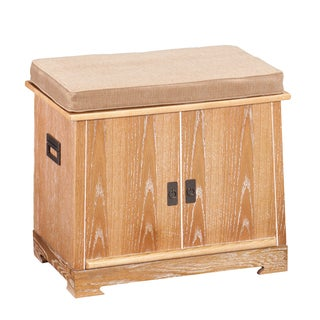 Upton Home Verrell Weathered Oak Bench with Tray Organizer