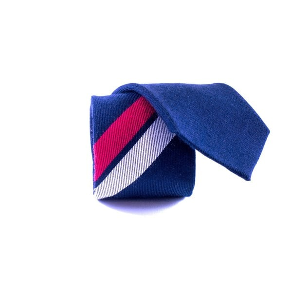 Southern Gents Men's 'Blue Momentum' Navy Blue Slim Tie with Red/ Silver Stripe