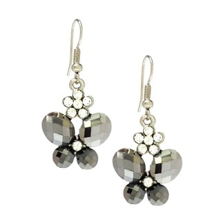 Bleek2Sheek Hematite and Daisy Rhinestone Crystal Butterfly Earrings