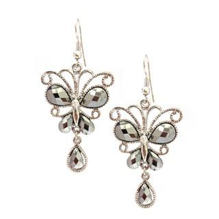 Bleek2Sheek Hematite and Rhinestone Victorian Crystal Butterfly Earrings