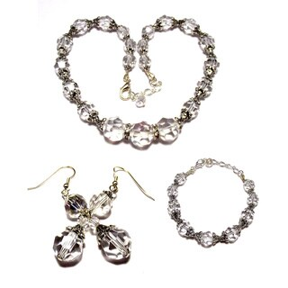 Silverplated Clear Crystal 3-piece Wedding Jewelry Set