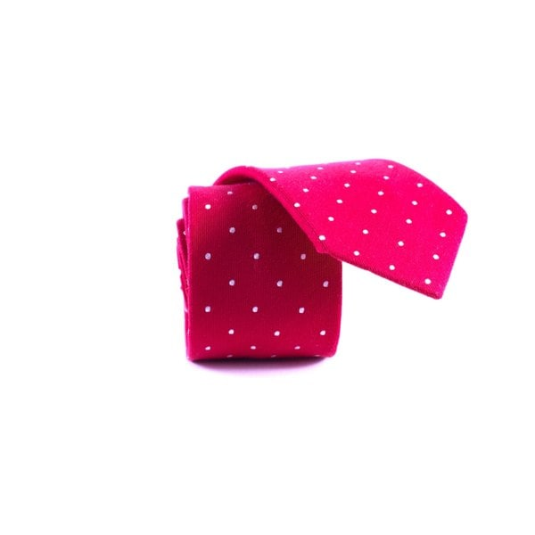 Southern Gents 'Polka Rouge' Red/ White Polka-dot Slim Neck Tie