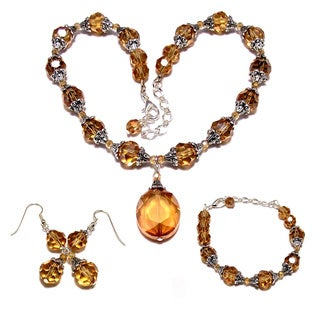 Silverplated Golden Crystal 3-piece Wedding Jewelry Set