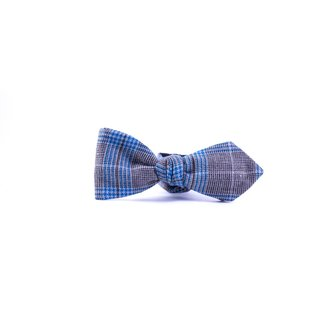 Southern Gents 'Oxford' Blue/ Grey Plaid Diamond Tip Bowtie