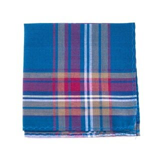 Southern Gents 'The Yale' Blue Plaid Pocket Square