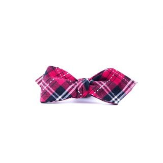 Southern Gents Men's 'Ruby Red Plaid' Diamond Tip Bowtie