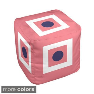 13 x 13-inch Square and Dot Geometric Decorative Pouf