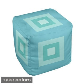 13 x 13-inch Multi-square Print Geometric Decorative Pouf