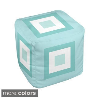 13 x 13-inch Tri-tone Multi-square Print Geometric Decorative Pouf