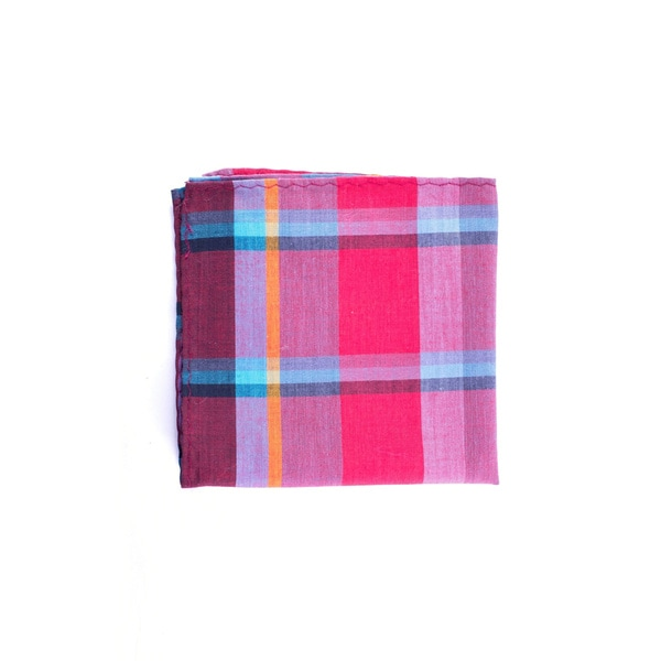 Southern Gents 'The Cardinal' Red/ Blue Plaid Pocket Square