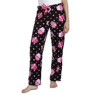 Stanzino Women's Black Cupcake Print Plush Sleepwear Pants