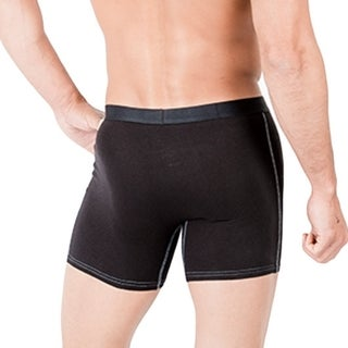 Men's Black/ Charcoal Mid Length Boxer Briefs