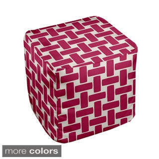 13 x 13-inch Large Basket Weave Print Geometric Decorative Pouf