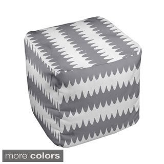 13 x 13-inch Two-tone Ripple Stripe Geometric Decorative Pouf