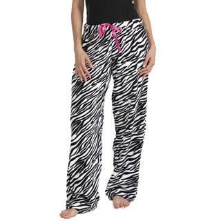 Stanzino Women's Zebra Print Plush Sleepwear Pants