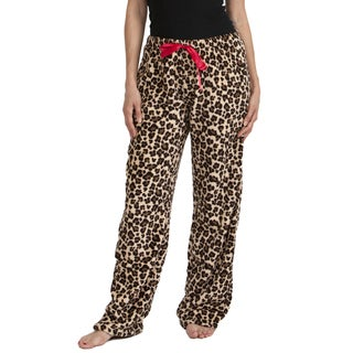 Stanzino Women's Plus Size Leopard Printed Plush Sleepwear Pants
