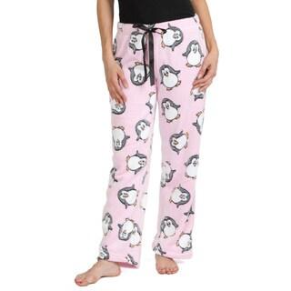 Stanzino Women's Pink Penguin-print Soft Plush Sleepwear Pants