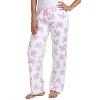 Stanzino Women's White Bow-print Plush Sleepwear Pants