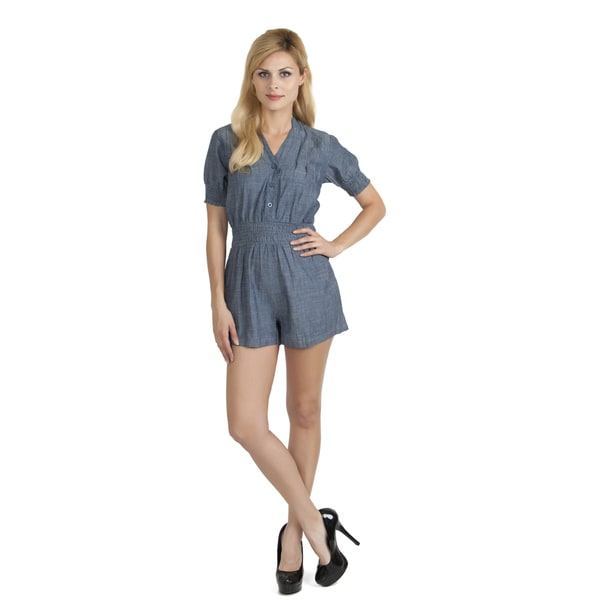 Stanzino Women's Denim Smocked-waist Short Romper
