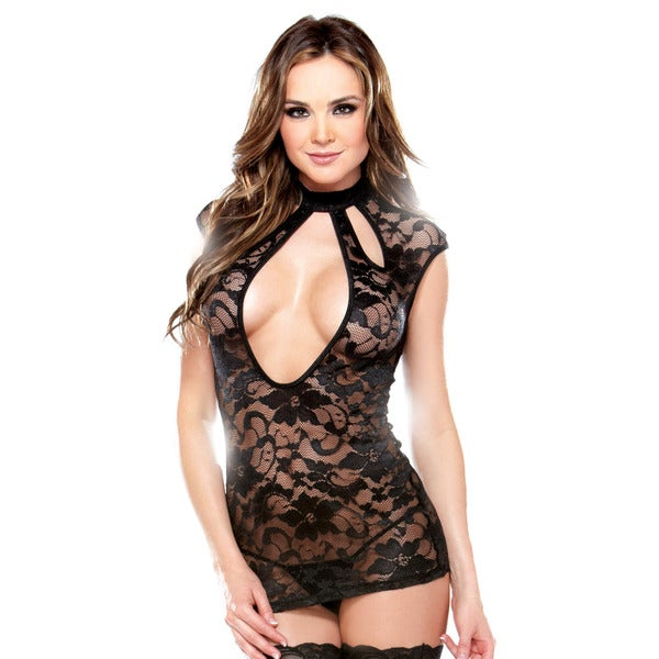 Fantasy Lingerie Women's Cut-out Lace Dress with Matching G-string (One Size)