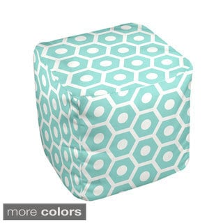 13 x 13-inch Two-tone Honeycomb Print Geometric Decorative Pouf