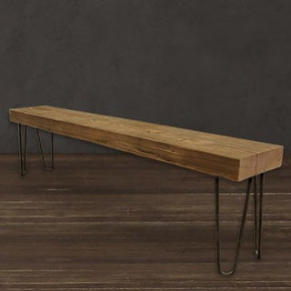 Brown 3-foot Solid Reclaimed Wood Beam Bench