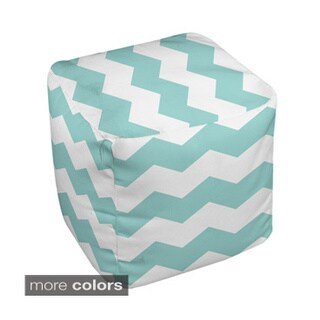 13 x 13-inch Two-tone Chevront Print Decorative Pouf