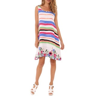 Mossee Women's White/ Multicolor Rainbow A-line Dress
