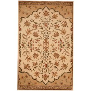 Herat Oriental Indo Hand-tufted Mahal Ivory/ Tan Wool Rug (4'10 x 7'9)