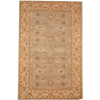 Herat Oriental Indo Hand-tufted Mahal Light Blue/ Beige Wool Rug (5'1 x 8')
