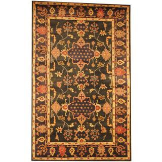 Herat Oriental Indo Hand-tufted Mahal Green/ Navy Wool Rug (5'3 x 8'2)