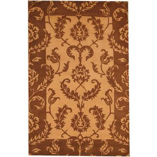 Herat Oriental Indo Hand-tufted Mahal Tan/ Brown Wool Rug (5' x 7'8)