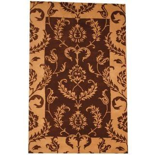 Herat Oriental Indo Hand-tufted Mahal Brown/ Tan Wool Rug (5' x 7'8)