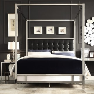 INSPIRE Q Solivita Dark Grey Linen Canopy Button Tufted Metal Poster Bed