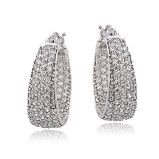 ICZ Stonez Sterling Silver 1 4/5ct TGW Cubic Zirconia Inside-out Hoop Earrings