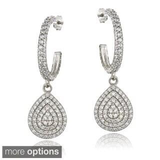 ICZ Stonez Sterling Silver 2 7/8ct TGW Cubic Zirconia Teardrop Dangle Earrings