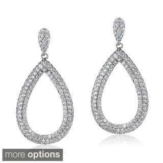 ICZ Stonez Sterling Silver 5 3/4ct TGW Cubic Zirconia Open Teardrop Earrings