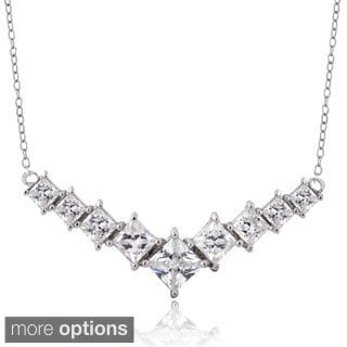 ICZ Stonez Sterling Silver 3ct TGW Cubic Zirconia Square-Cut V Necklace