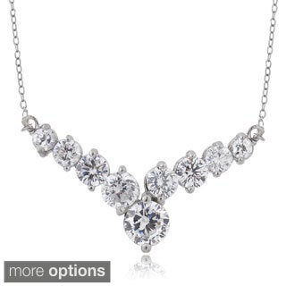 ICZ Stonez Sterling Silver 1 3/5ct TGW Cubic Zirconia V Necklace