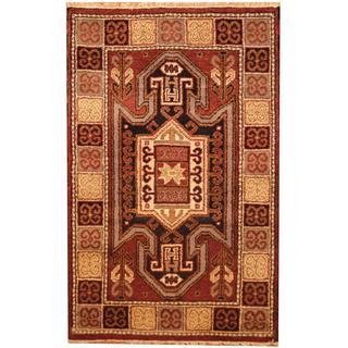 Herat Oriental Indo Hand-knotted Kazak Purple/ Beige Wool Rug (3' x 5')